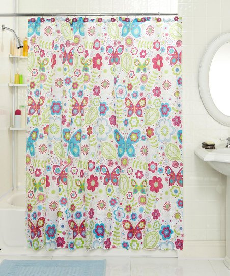 Butterfly Flower Shower Curtain &amp; Hook Set