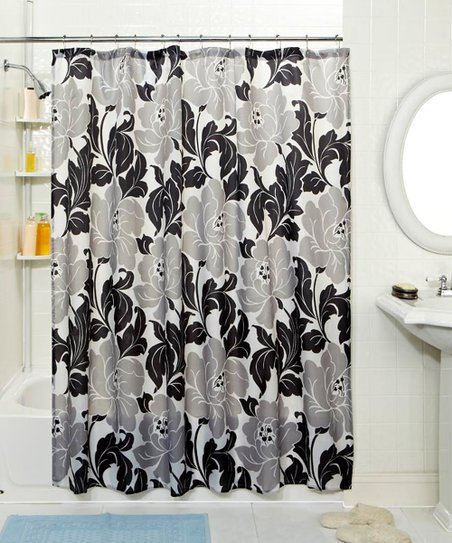 Black &amp; White Leaf Shower Curtain &amp; Hook Set