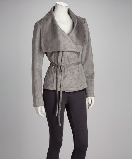 Gray Oversize Collar Jacket