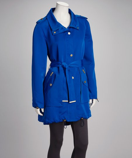 Lapis Zipper Belted Coat