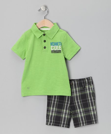 Lime 'Kenneth Cole' Polo & Plaid Shorts - Infant, Toddler & Boys