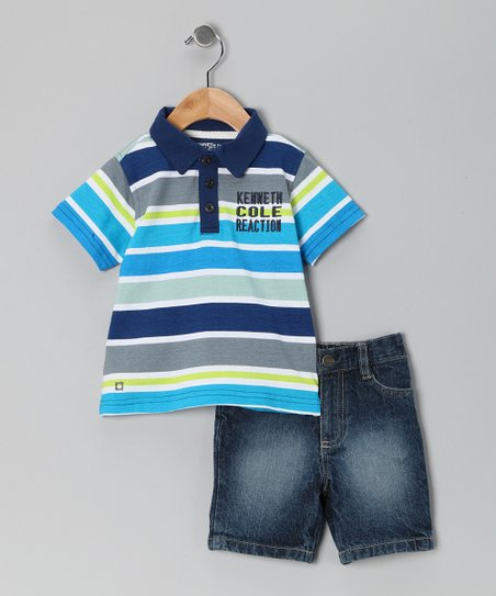Blue Stripe Polo & Denim Shorts - Infant, Toddler & Boys