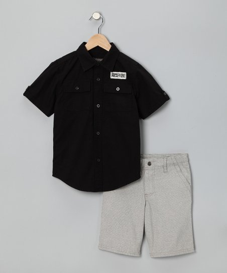 Black Button-Up &amp; Khaki Shorts - Boys
