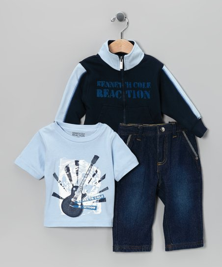 Light Blue Guitar Zip-Up Sweatshirt Set - Toddler
