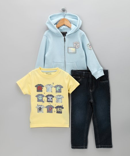 Yellow & Light Blue Hoodie Set - Toddler