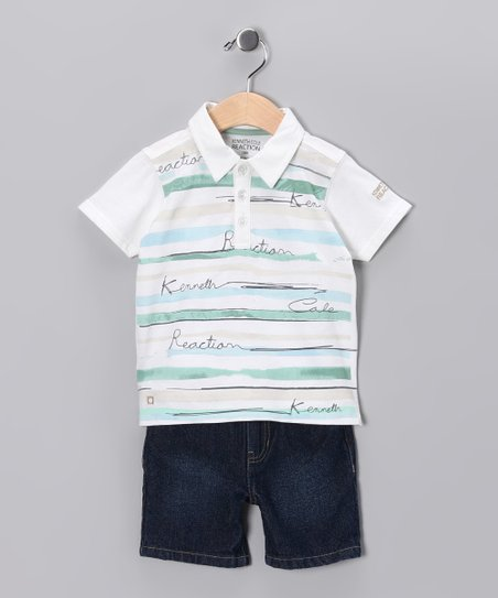 White Polo & Denim Shorts - Infant