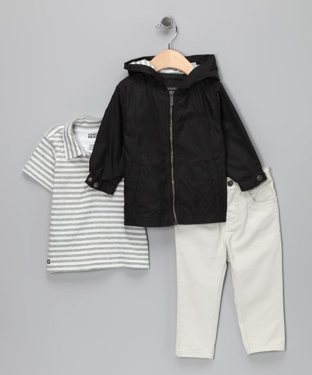 White & Gray Stripe Polo Set - Infant