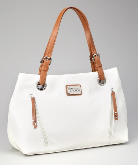 Kenneth Cole Reaction Ivory & Tan Satchel