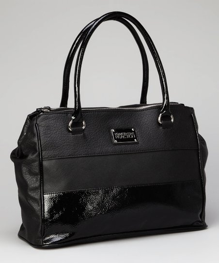 Black Textured Satchel