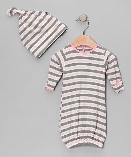 Mist Stripe Gown & Single-Knot Beanie - Infant