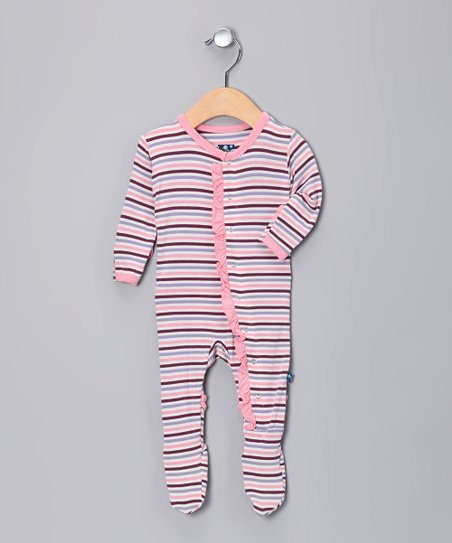 Pink & Purple Stripe Ruffle Footie - Infant, Toddler & Girls
