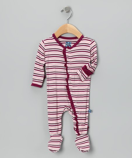 Pink Orchid Stripe Ruffle Footie - Infant, Toddler & Girls