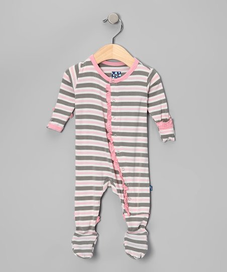Mist Gray Stripe Ruffle Footie - Infant & Toddler