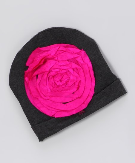 Gray &amp; Pink Floral Beanie