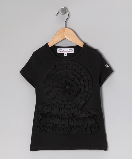 Black Ruffle Wheel Tee - Toddler & Girls