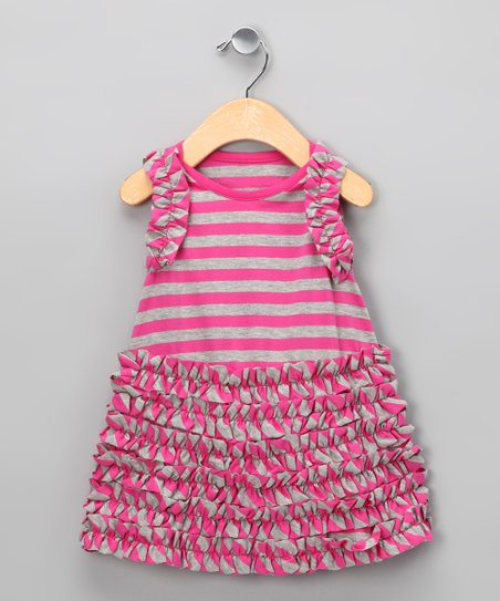 Raspberry & Gray Stripe Ruffle Kalinka Dress - Infant & Toddler