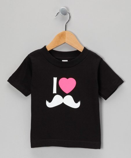 Black I Love Mustaches Tee - Toddler & Kids