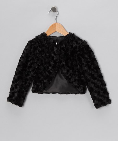 Black Minky Swirl Bolero - Infant, Toddler & Girls