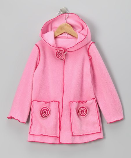 Kid Fashion Pink Flower Fleece Jacket - Infant, Toddler & Girls