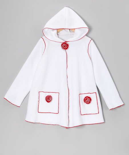 Kid Fashion White Rose Fleece Jacket - Infant, Toddler & Girls
