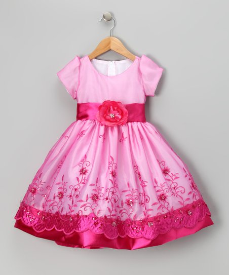 Fuchsia Organza Embroidered Dress - Toddler &amp; Girls