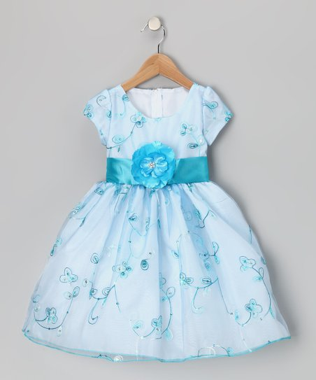 Blue & White Flower Organza Dress - Infant, Toddler & Girls
