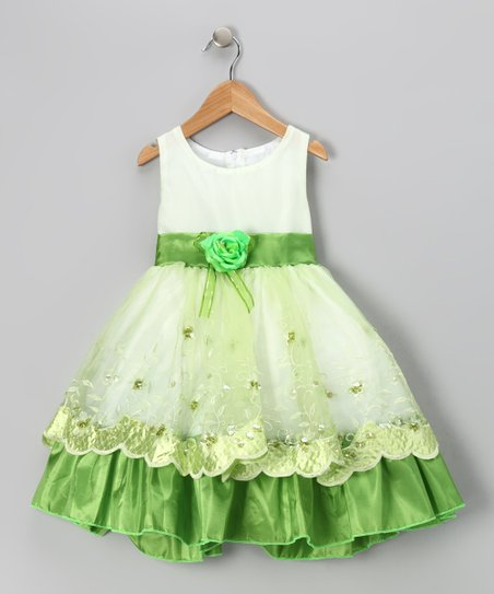 Lime Flower Organza Embroidered Dress - Toddler &amp; Girls