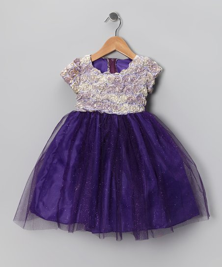 Purple Rosette Dress - Infant, Toddler & Girls