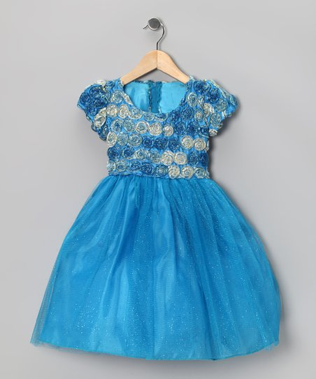 Turquoise Rosette Dress - Toddler & Girls