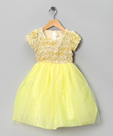 Yellow Rosette Dress - Toddler & Girls
