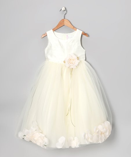Ivory Flower Petal Silk Dress – Infant, Toddler & Girls