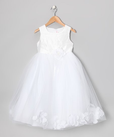 White Flower Petal Silk Dress – Toddler & Girls
