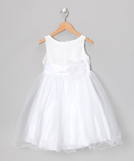 White Sequin A-Line Dress - Infant, Toddler & Girls