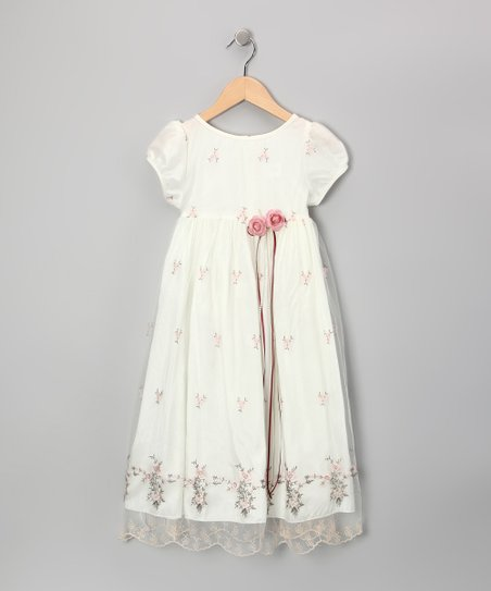 Ivory & Pink Floral Victorian Dress - Toddler & Girls