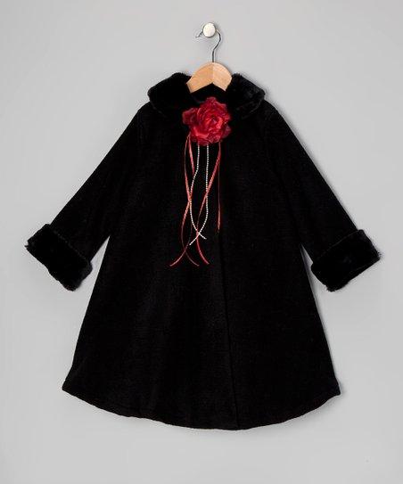 Black Rose Fleece Coat - Toddler & Girls
