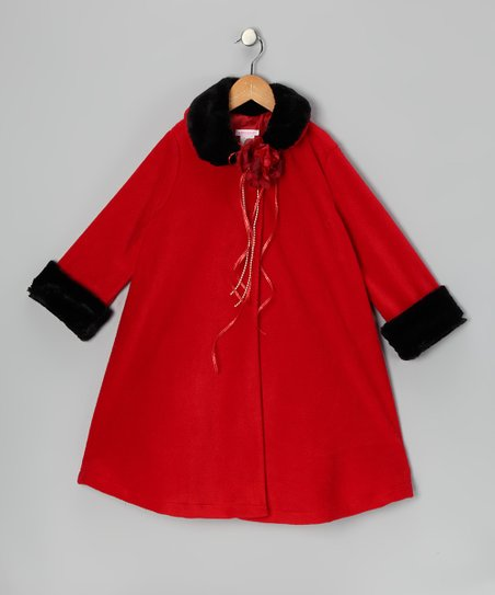 Red Rose Faux Fur Swing Coat - Toddler & Girls