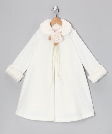 Ivory Rose Fleece Coat – Toddler & Girls