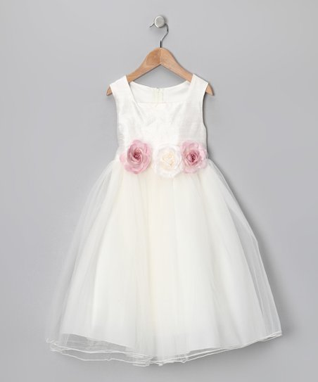 Ivory Rose Silk Dress - Infant, Toddler & Girls