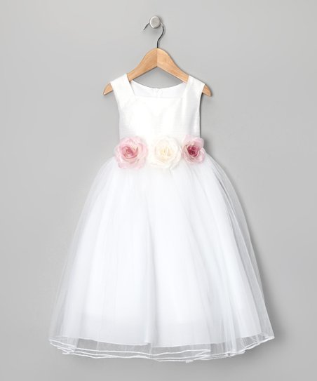 White Rose Silk Dress - Toddler & Girls
