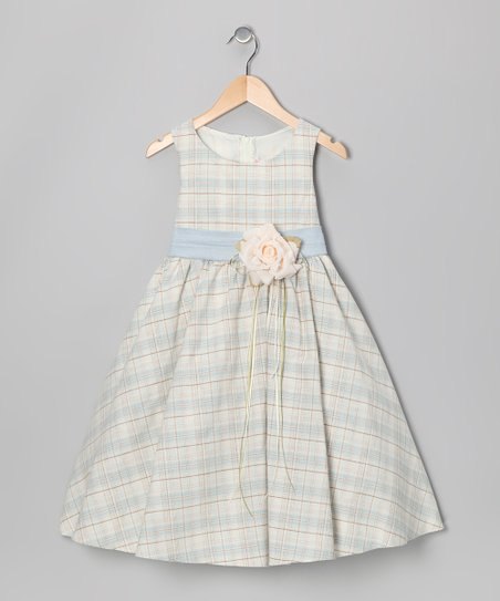 Blue Plaid Vintage Linen Dress - Toddler & Girls
