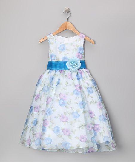 Blue Floral Organza Dress - Toddler & Girls