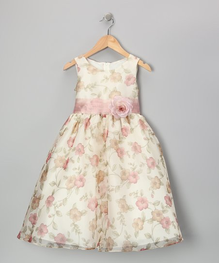 Vintage Rose Floral Organza Dress - Toddler & Girls