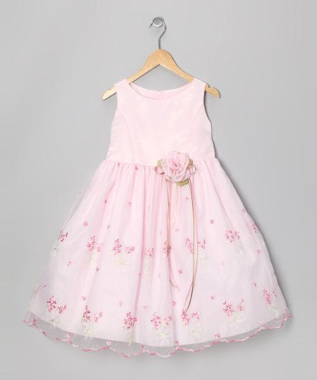 Pink Embroidered Floral Dress – Infant, Toddler & Girls