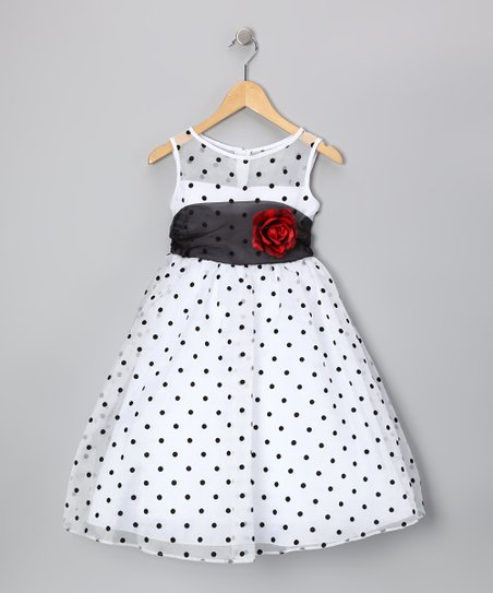 White & Black Polka Dot Rose Dress - Infant, Toddler & Girls