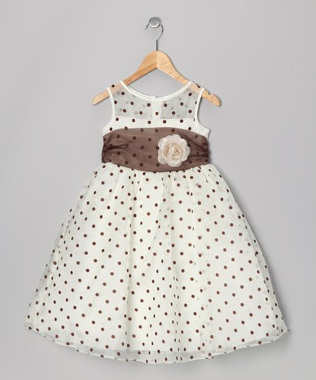Ivory & Brown Polka Dot Dress - Infant & Toddler