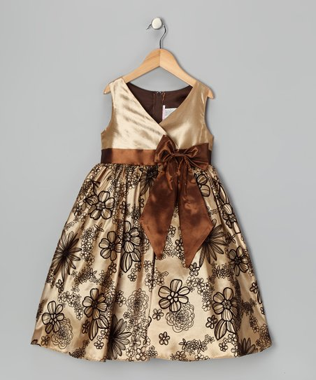 Brown Velvet Flocked Dress - Toddler & Girls