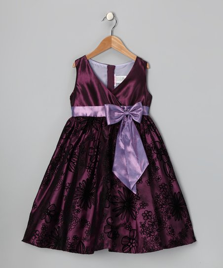 Eggplant Velvet Flocked Dress - Toddler