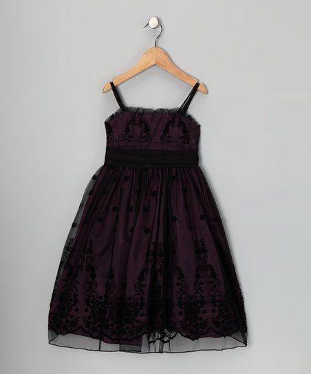 Black & Eggplant Floral Dress - Toddler & Girls