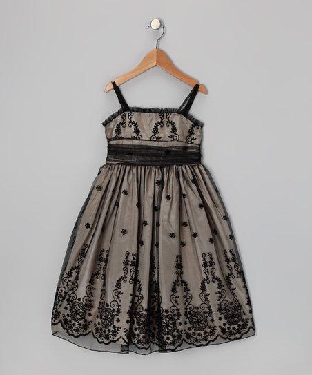 Black & Champagne Floral Dress – Toddler & Girls