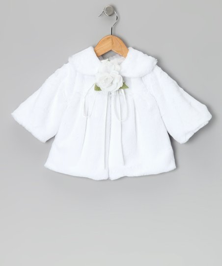 White Rose Faux Fur Jacket - Infant, Toddler & Girls